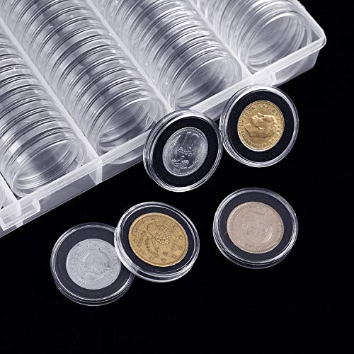 SPLF 100 Pieces 30mm Coin Capsules and 5 Sizes (17/20/25/27/30mm) Protect Gasket Coin Holder Case with Plastic Storage Organizer Box for Coin Collection Supplies