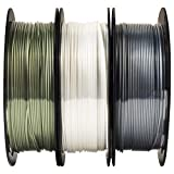 MIKA3D 1.75mm 3 in 1 Metallic Shiny Silk Bronze Gun Silver Grey White PLA 3D Printer Filament Bundle, 0.5kg 1.1lbs/Spool Total 1.5kgs 3D Printing Material Widely Compatible