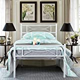 WeeHom Twin Bow Design Metal Bed Frame Mattress Foundation/Platform Bed Heavy Duty Steel Slat Best for Kids Adults Student White