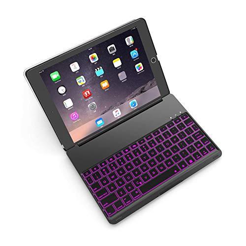 WERTY Funda del Teclado de la Tableta para el Teclado Bluetooth inalámbrico de la retroiluminación Colorida del iPad 2018 para iPad 9.7 2017 Fundas de aleación de Aluminio (Color : Black)