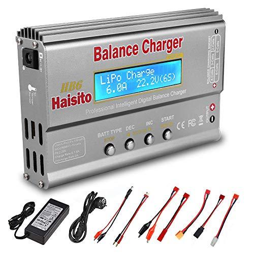 Cargador LiPo Haisito HB6, Cargador/Descargador de batería RC con Equilibrador para LiPo Lilon Life NiMH NiCD PB, 80W 6A con Adaptador AC/DC, Compatible con Tamiya / XT60 / Deans/JST/Futaba