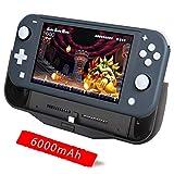 BigBlue 6000mAh Portable Coque Batterie Compatible pour Nintendo Switch Lite, SwitchCharge avec Type C Port, Batterie Externe Portable avec Support Arrière Réglable, TPU Matériel, Noir
