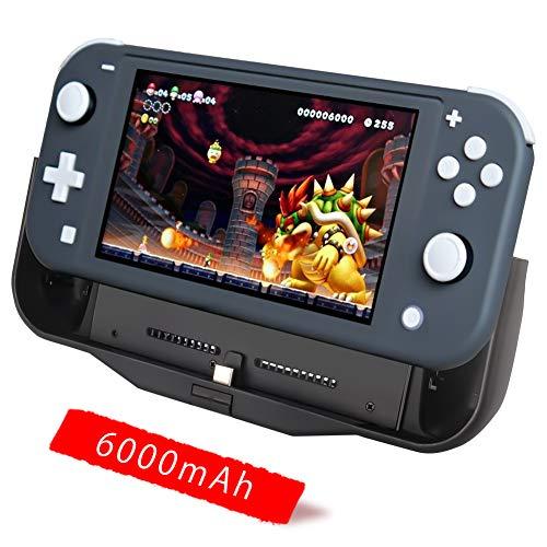 BigBlue 6000mAh Akku-Ladegerät für Nintendo Switch Lite, Tragbare Powerbank SwitchCharge mit Typ-C-Anschluss, Anpassbarer Ständer und Card Steckplatz, Akku Hülle für Nintendo Switch Lite