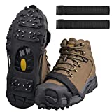 Shaddock Fishing Ice Cleats for Shoes and Boots, Ice Snow Traction Cleats Crampons for Men Women Kids Winter Walking on Ice and Snow Anti Slip Overshoe Stretch Footwear (28 Steel Crampons, Size M)