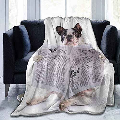 HARXISE Coperta in Pile di Corallo,Cane Cartone Animato Divertente Bulldog Francese Lettura di giornali Pittura a Tema Animali Domestici Bambini e Amanti degli Animali,127x102cm