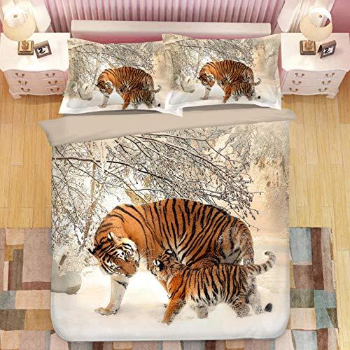 PANDAWDD 3 Teilig Bettwäsche Set 3D Tier Tiger Bettbezug Microfaser Bettwäscheset Jugendliche Deckenbezug King Size 3 Teilig Modern Luxus Bettgarnitur Paare Set Reißverschluss (240X220cm,50X75 cm)