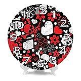 DZCP-y Reloj de Pared Redondo RAD Skulls Flowers Love Relojes de Escritorio Decoración silenciosa Números de Interior Reloj de Cuarzo Digital