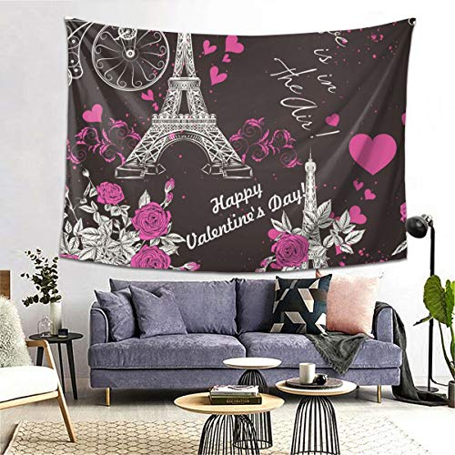 Best Bargain bneegxg Tapestries Décor Picnic Mat Seamless Wallpaper Pattern with Eifel Tower for Be...