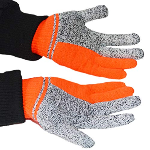 HHF Mitts & Gloves Cut Resistant Gloves- Safety Cutting Gloves, HPPE Cut-Proof Jacquard Gloves for Hand Protection, Best Use for Kitchen, Outdoor (Color : White)