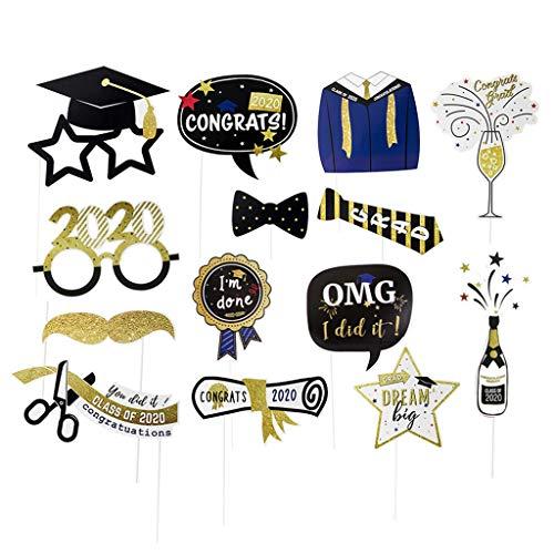 FiedFikt DIY 2020 Temporada de graduación 14 piezas de accesorios para fotos decoración de fiestas, felicitaciones graduados 2020 fotografía telón de fondo accesorios para fiestas