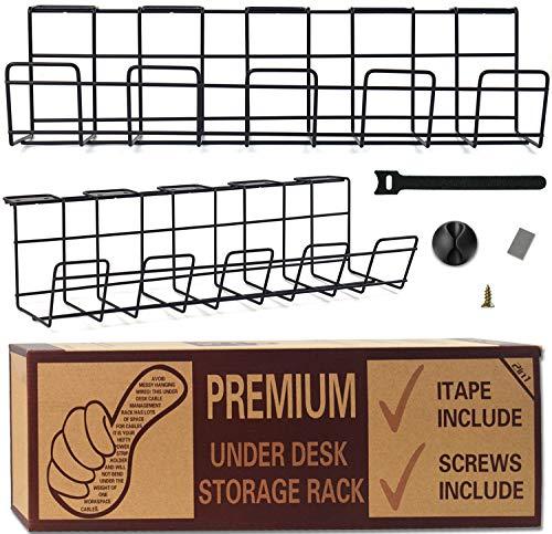 Kabelkanal Schreibtisch, kabelmanagement 2 Stücke Cable Management - Computer Kabel Aufbewahrung und 10 Stück Kabelbinder, 10 Stück Klebeband zum einfachen Kabelmanagement