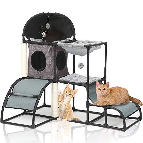 LBLA Kratzbaum Katze, Kratzbaum für Katzen Mittelhoch und Stabil mit Hängematte, Katzenbaum Grau mit Großer Plattform und Spielhaus