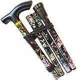 Bastón, Fácil de altura ajustable plegable extensible bastón que camina, ligero flexible y duradero Caminar ayuda a la movilidad de la ayuda plegable Bastón, flor púrpura ( Color : Black Flower )