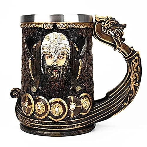 WWKDM1 Taza de Jarra vikinga 304 Inserto de Acero Inoxidable Resina Dios nórdico Odin Café Cerveza Tazas Taza Regalo de cumpleaños de Halloween 600Ml