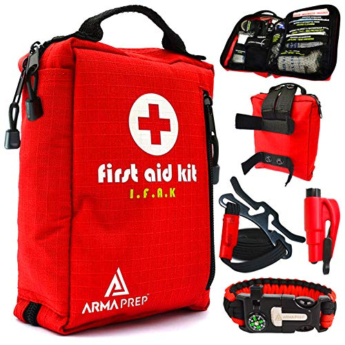 ARMAPREP First Aid Kit - Compact IFAK with Rapid Response Labels, MOLLE, Tourniquet & Survival Tools - Small First Aid Kit for Car Vehicle Camping Hiking & Backpacking