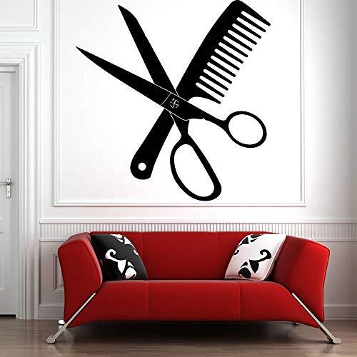 Calcomanía de pared para salón de belleza, tijeras para peluquería, peine, adhesivo de vinilo, patrón, pegatina de pared, papel tapiz de peluquería