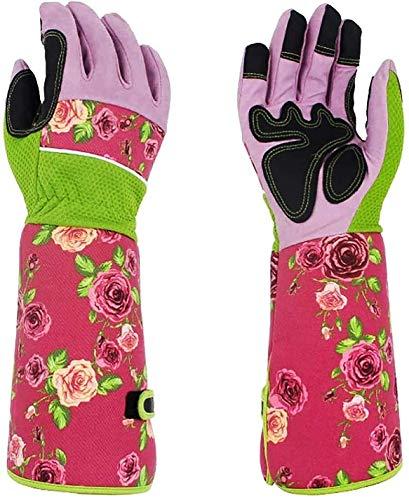 Atmungsaktive lange Gartenhandschuhe für Damen, Anti-Dorn, Damen-Handschuhe zum Pflanzen von Blumen, robuste Gartenarbeitshandschuhe mit 37 cm langen Gartenarbeits-Ärmeln