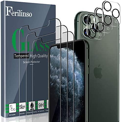 Ferilinso Screen Protector for iPhone 11 Pro with 3 Pack Camera Lens Protector, Tempered Glass Film for iPhone 11 Pro 5.8 Inch [Military Protective] [Case Friendly] [Anti-Fingerprint] [Anti-Scratch]