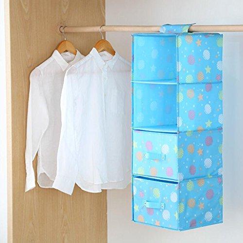 Sacs de rangement Xuan - Worth Another Blue Star Pattern Drawer Garde-Robe Hanging Clothing sous-vêtements Quatre Couches (27 * 28 * 81cm) (Couleur : Four Drawers)