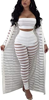 8e6aa8bacba1 Womens Sexy Mesh See Through 3 Pieces Outfits Jumpsuits Rompers Long Sleeve  Tops Long Pants Sets