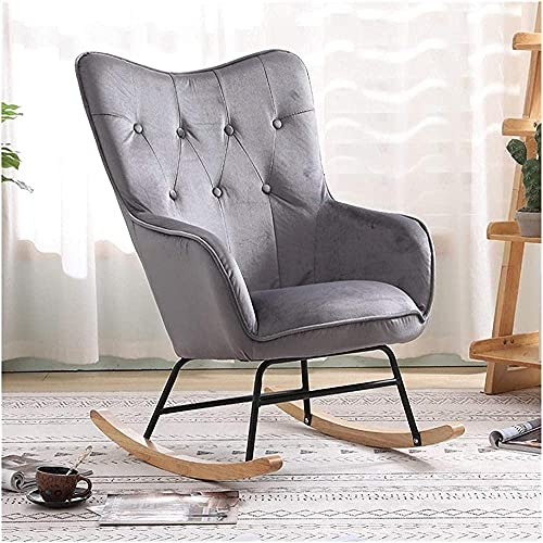 IOUYRRN Nordic Single Rocking Chair Sofa Recliner Armchair Living Room Bedroom Balcony Lounge Chair Nap Chair Lazy Chair-Pink Color (Color : Gray Color)