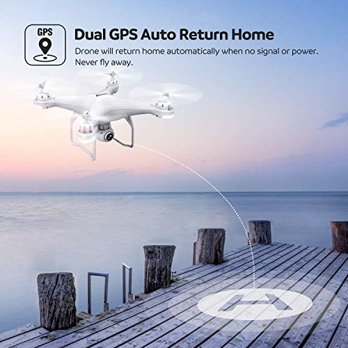 Potensic Drone GPS Camera 1080P Professional Drone T25 Dual GPS with Wide Angle Adjustable HD Camera WiFi FPV Quadcopter Function Follow me Mode Headless