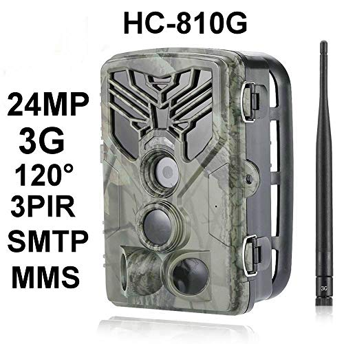 24MP 3G Wildkamera HC-810G Full HD 44 Black LED 0,3 Sek Trigger 120° Fotofalle Überwachungskamera Jagdkamera GSM MMS SMTP SMS Jagd Wild Kamera Hunting Trail Camera Suntek 3G 2G