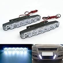 Rayhoo 2 pcs Set Waterproof High Power 6W 12V 6000K Xenon Slim COB LED DRL Daylight Driving Daytime Running Light Lamp For Car SUV Sedan Coupe Vehicle Universal (Xenon White)