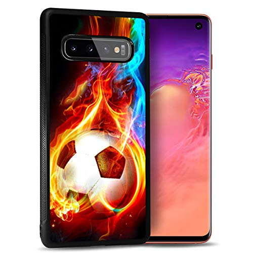 for Samsung S10e, Galaxy S10e, Durable Protective Soft Back Case Phone Cover, NiceTEK HOT12366 Flame Football Soccer 12366