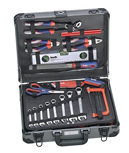 kwb Werkzeug-Koffer inkl. Werkzeug-Set, 99-teilig, gefüllt, robust und hochwertig, ideal für den Haushalt oder die Garage, im stabilen Alu-Koffer
