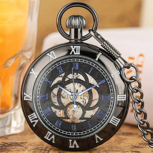 DIEFMJ Reloj de Bolsillo Pantalla de números Romanos Reloj de Bolsillo mecánico Reloj Colgante de Cuerda Manual Bronce/Negro/Plata Steampunk Fob Chain