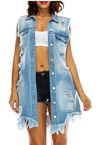 TwiinSisters Women's Fray Hem Distressed Sleeveless Long Jean Denim Duster Vest Cardigan Jacket 3X