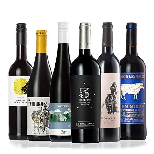 GEILE WEINE Weinpaket Rotwein trocken (6 x 0,75) Probierpaket mit Rotweinen von Winzern aus Deutschland, Spanien, Portugal und Frankreich