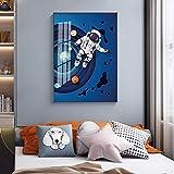 GEGEBIANHAOKAN Impresión de Pintura de Dibujos Animados Vía Láctea Cohetes astronautas Carteles Modernos Pintura Cuadro de Pared para Sala de Estar decoración de Dormitorio infantil-50x75cm sin Marco