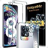 5 Pack UniqueMe 2 Pack Protector de Pantalla Compatible con Realme 8 4G [No aplica para Realme 8 5G/Realme 8 Pro] y 3 Pack Protector de lente de cámara Cristal Templado [Sin Burbujas] Vidrio Templado