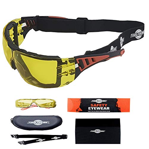 ToolFreak Rip-Out,Yellow Lens Safety Glasses, Foam Padded Protective Eyewear, Impact Eye Protection, ANSI z87 Rated, Case and Cloth