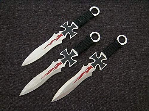 KOSxBO® 3er Eiseners Kreuz Darts Wurfmesserset World WAR 2 WW2 Edition hochwertige Kunai Messer ca. 17,5 cm inklusive Holster und Gürtelclip - Gürtelmesser -