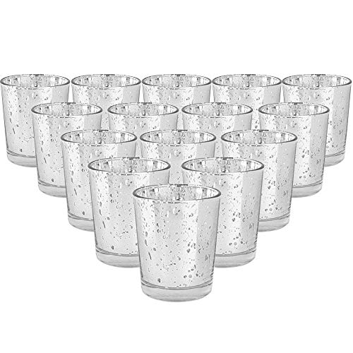 YarStore Decorative Mercury Glass Votive Candle Holder 2.75' H (15pcs, Speckled Silver) - Mercury Glass Votive Tealight Candle Holders for Weddings, Parties and Home Décor