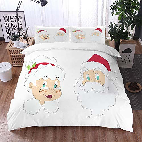 bedding - Duvet Cover Set,Mr Mrs,Mr and Mrs Santa Clause North Pole Inhabitants Christmas Themed Cartoon Characters,Red Cream,Microfibre Duvet Cover Set 200 x 200 cm with 2 Pillowcase 50 X 75cm