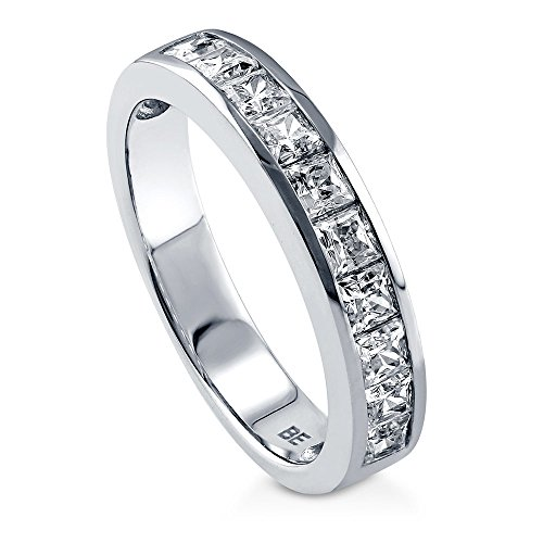 BERRICLE Rhodium Plated Sterling Silver Channel Set Princess Cut Cubic Zirconia CZ Anniversary Wedding Half Eternity Band Ring Size 5