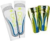 adidas F50 Pro Lite Shin Guard (Slime, Anodized Blue, White, Large)