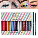YOUNG VISION Gel Eyeliner Pencil 20PCS Colorful Set, (Matte+Glitter) Colored Eye Iiners, Long Lasting/Waterproof/ Smudge-proof Eyes Makeup set for women, Delineador De Ojos Contra El Agua