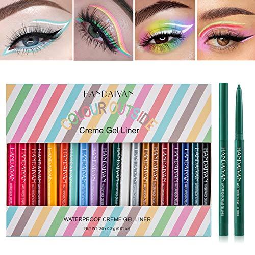 YOUNG VISION Gel Eyeliner Pencil 20PCS Colorful Set, (Matte+Glitter) Colored Eye Iiners, Long Lasting/Waterproof/ Smudge-proof Eyes Makeup set for women, Delineador De Ojos Contra El Agua