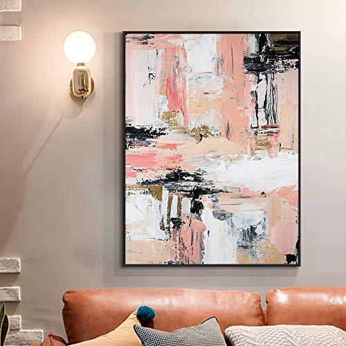wZUN Pintura al óleo sobre Lienzo Pintura Rosa con Textura Abstracta Sala de Estar Decoración del hogar 60x90 Sin Marco