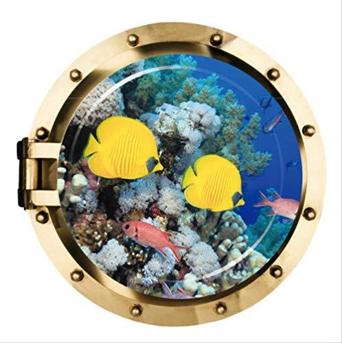 Wandaufkleber, schöne lächelnde Fisch U-Boot Bullauge Fenster Aufkleber für Waschmaschine Kidroom Dekoration DIY Kunst Wandbild 50X50Cm