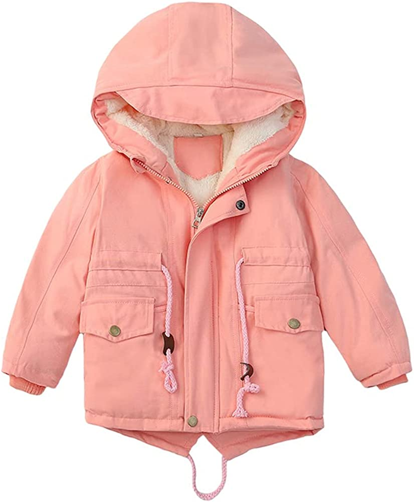 LittleSpring Little Girls Winter Coat Zip Up Hooded Jacket Drawstring Fleece Lined Thick