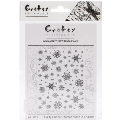 Crafty personen ongemonteerd rubberen stempel 12 x 7 inch snowflakes achtergrond