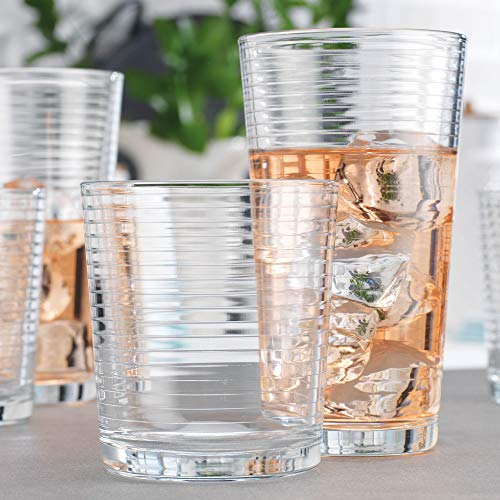 Set of 16 Heavy Base Ribbed Durable Drinking Glasses Includes 8 Cooler Glasses 17oz and 8 Rocks Glasses 13oz  Clear Glass Cups  Elegant Glassware Set