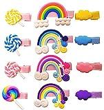 JZK 12 x Sweet Rainbow Cloud Lollipops Kinder Haarspangen Alligator Haarspangen Haarschmuck Set für kleine Mädchen, Kinder Geschenk Geschenk