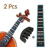 VCOSTORE Guía de dedo para violín y paquete de silenciador de goma, Notas de violín 4/4 Guía de adhesivos Gráfico de etiquetas más Mute de goma para principiantes